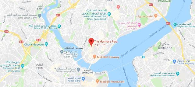 خريطة مكان فندق ذا مرمرة بيرا تقسيم اسطنبول The Marmara Pera Istanbul Hotel Map