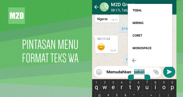 pintasan menu format teks whatsapp