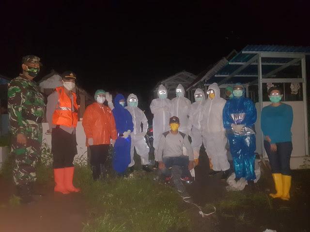 Polsek dan Koramil Airmadidi Lakukan Pengamanan Pemakaman PDP COVID-19 di Sawangan