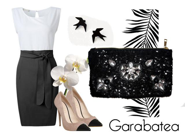 Combinar vestido blanco y negro y clutch joya Garabatea