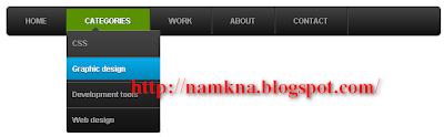 Menu xổ dọc một cấp Style 3 bằng CSS 3 cho blogspot - hy http://namkna.blogspot.com/