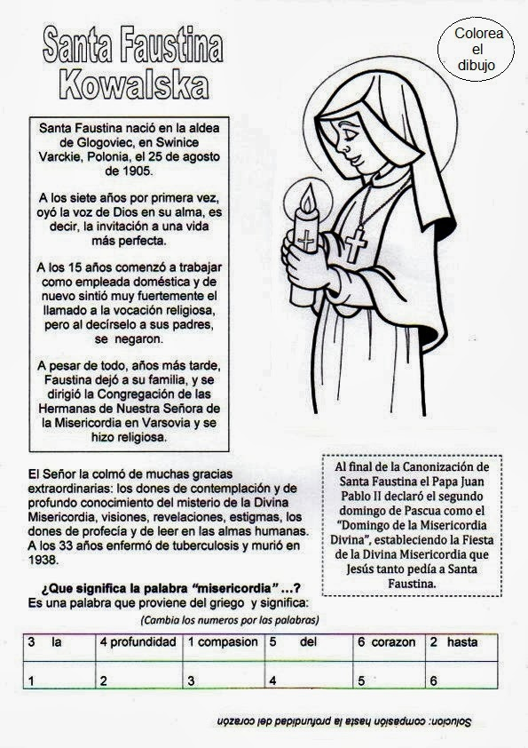 PARA COLOREAR: Dibujos de Santa Faustina Kowalska