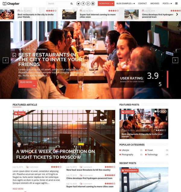 Chapter magazine style theme for Wordpress