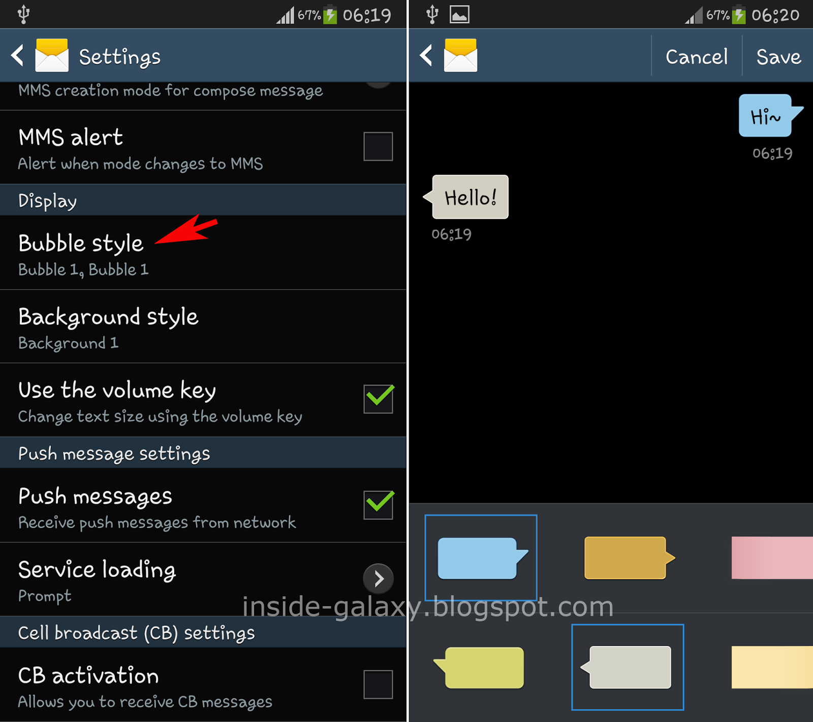 Inside Galaxy Samsung Galaxy S4 How To Change Bubble And Background Style In Messaging App