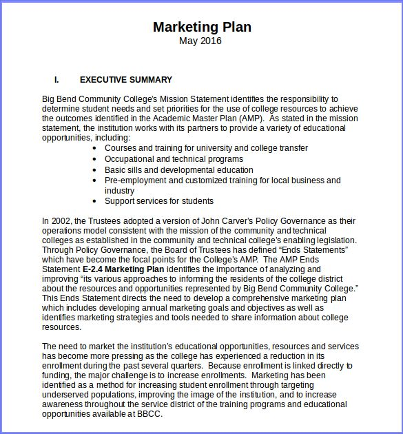 Free Marketing Plan Template Word   Resume Business Template
