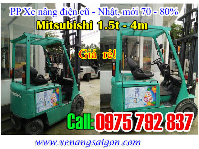 Bán xe nâng điện cũ ngồi lái 1. 5t - 4m Mitubishi, 1. 5t-3m Komatsu, giá cực rẻ