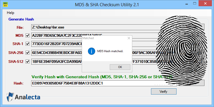MD5 and SHA Checksum Utility Graphic