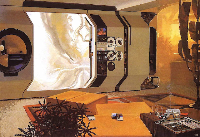 A Syd Mead 1960s home interior of the future