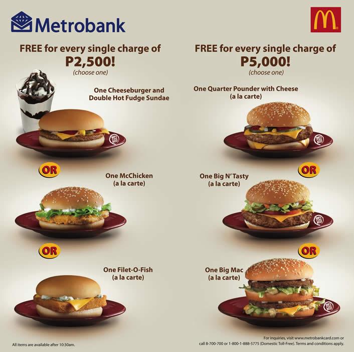 A La Carte Mcdonalds.Metrobank Free Mcdonalds Treats Pamurahan Your Ultimate