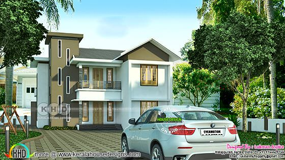 2845 sq-ft 4 bedroom mix roof house architecture