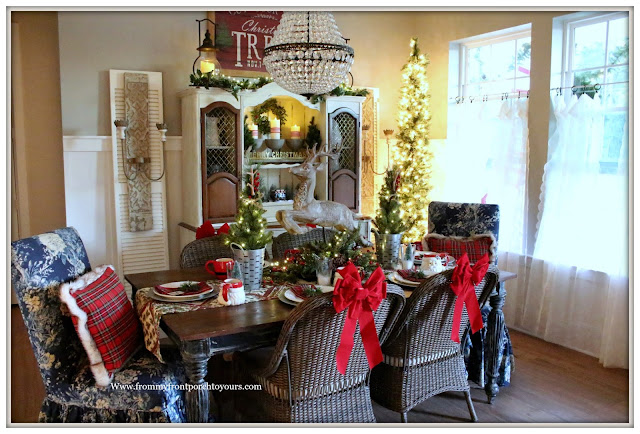 French Country Farmhouse Christmas Dining Room-Deer Centerpiece-Red Plaid-From My Front Porch To Yours