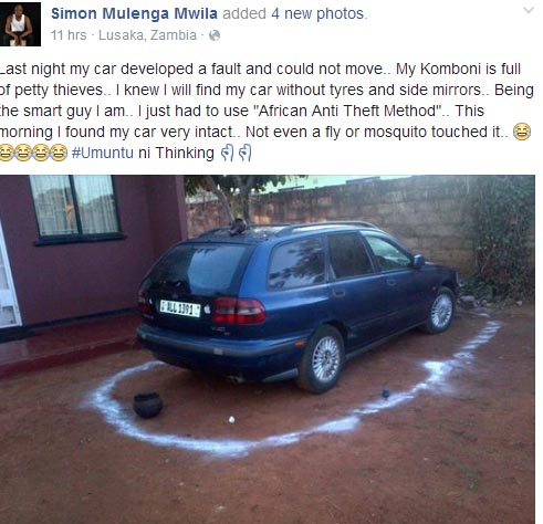 "After breaking down in a notorious neighbourhood, driver protests car with ""African method"""