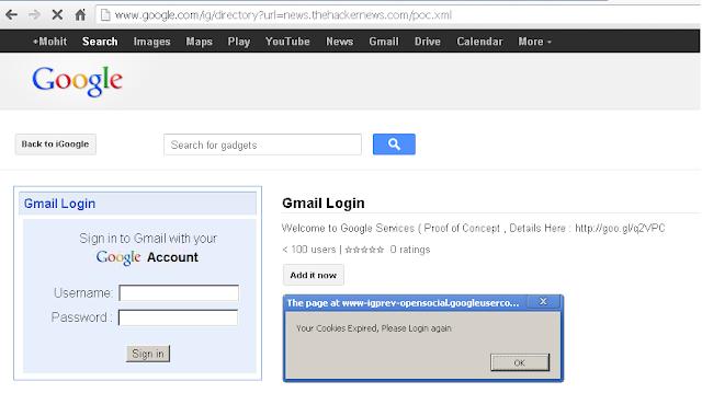 Exploiting Google persistent XSS vulnerability for phishing