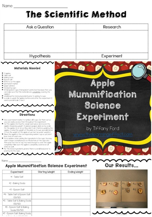 http://www.teacherspayteachers.com/Product/Apple-Mummification-Science-Experiment-268400