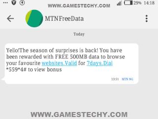 MTN Season of Surprise Free 500mb Data