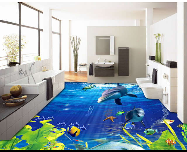 3D flooring designs to bring the ocean to your bathroom