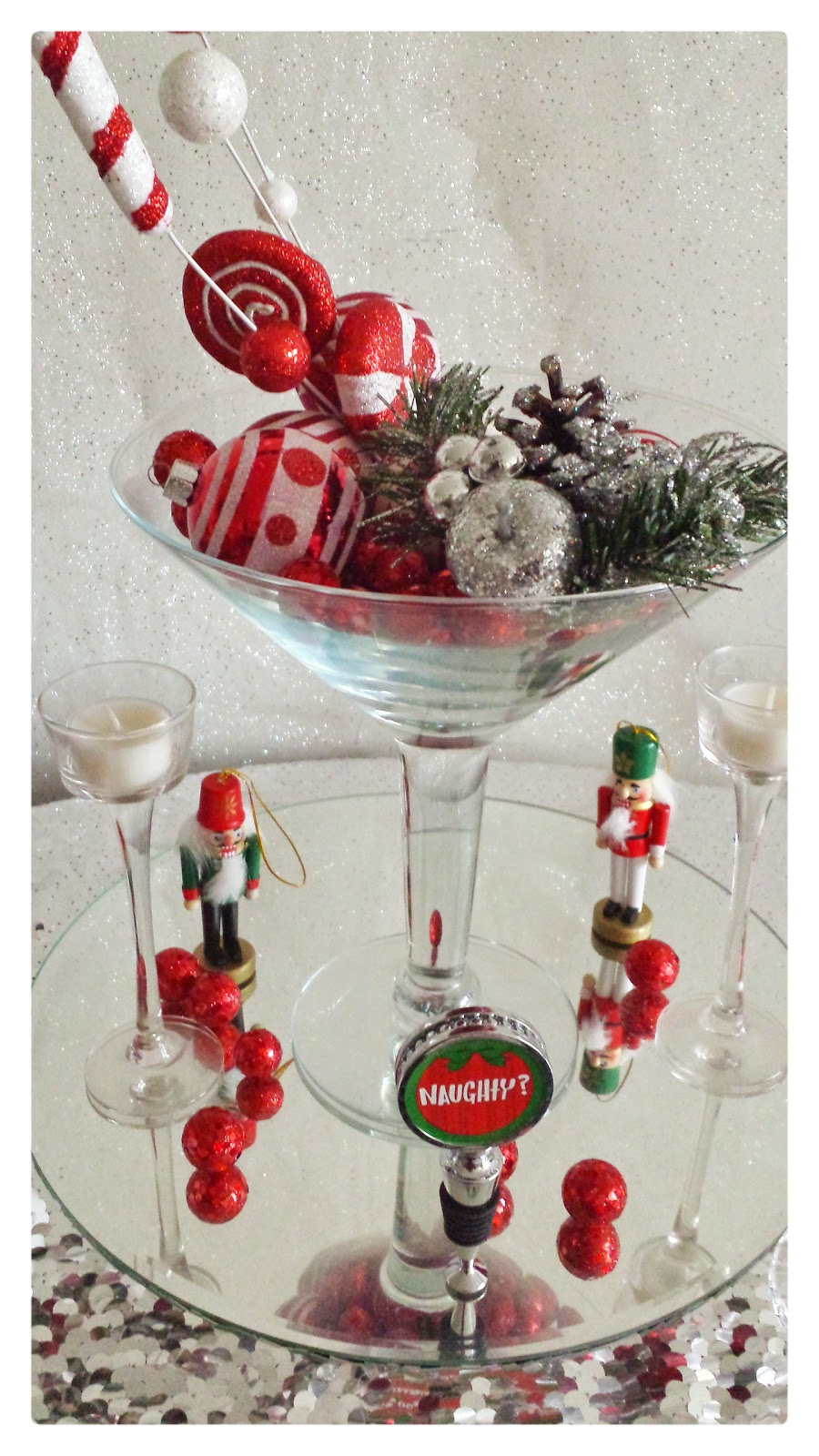 Christmas ornament in martini glass centerpiece