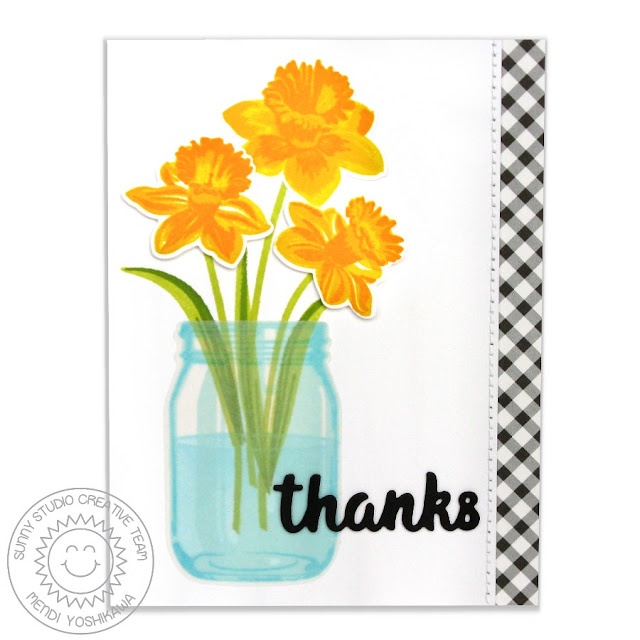 Sunny Studio Stamps: Daffodil Dreams Spring Thank You Card by Mendi Yoshikawa