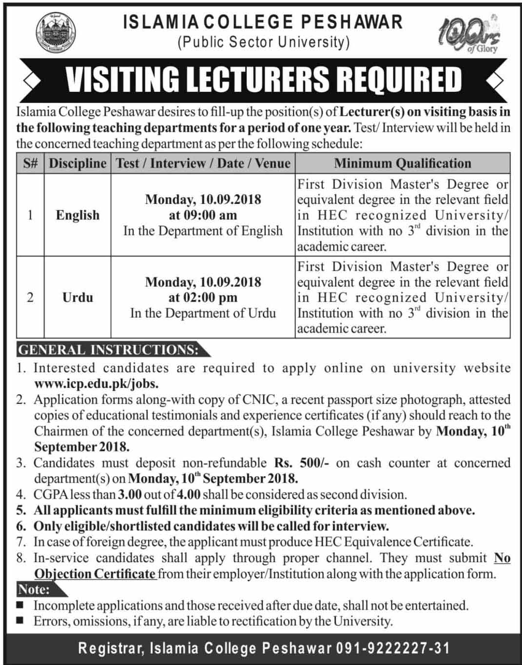 Latest Vacancies Announced in Islamia College Peshawar 8 September 2018