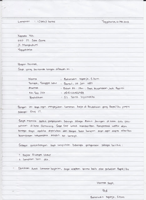 surat lamaran kerja pabrik tulis tangan