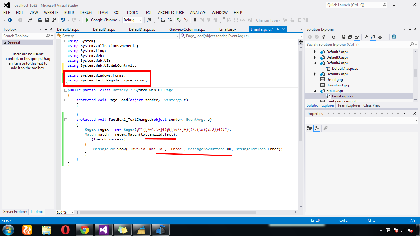how to add email validation in asp.net