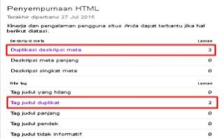 error duplikat meta deskripsi dan tag judul