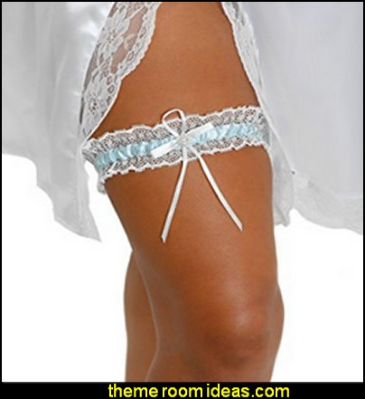 Bridal Blue Lace Wedding Bridal Garter with Rhinestone Satin Bow for Brides