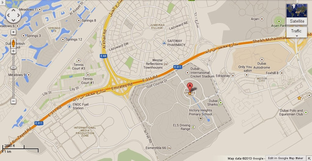 map dubai city     location map of dubai sports city
