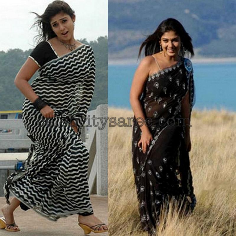 Nayantara With Black Sarees Saree Blouse Patterns