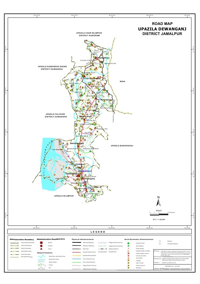Dewanganj Upazila Road Map Jamalpur District Bangladesh