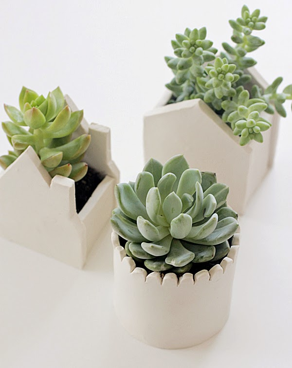Adorable DIY handmade clay pots