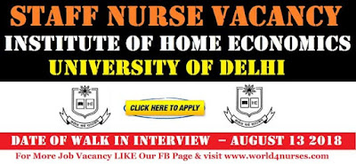 Staff Nurse Vacancy in Institute of Home Economics University of Delhi