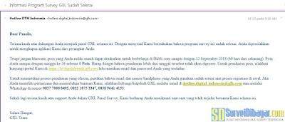 Email pemberitahuan dari online survey GfK | SurveiDibayar.com