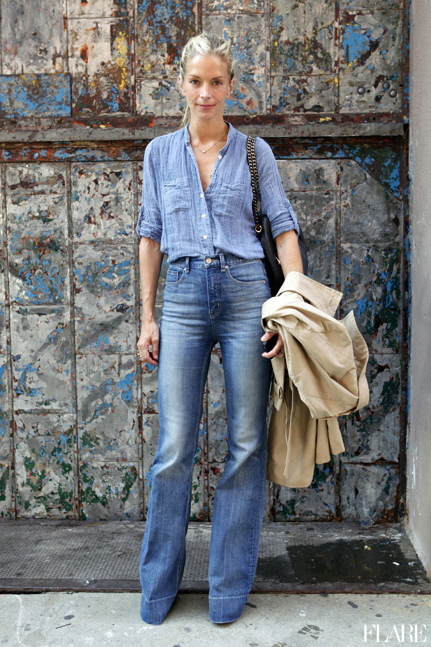 Stylish Denim-On-Denim Outfit Inspiration: Meredith Melling wearing a chambray shirt and high-waisted wide-leg jeans