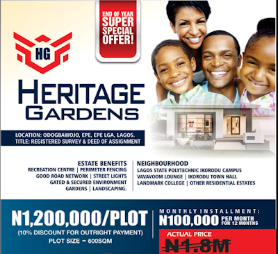 Buy From Heritage Gardens, Epe at N1,200,000/plot