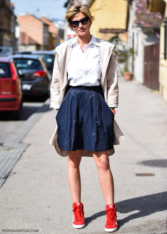 How to wear red wedge adidas red sneakers and preppy style, street style look, Anja Lutilsky Drimia Ana Šarić
