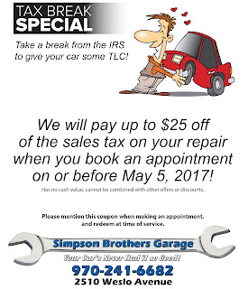 Spring Special Tax Automotive Coupon Car Special 2017