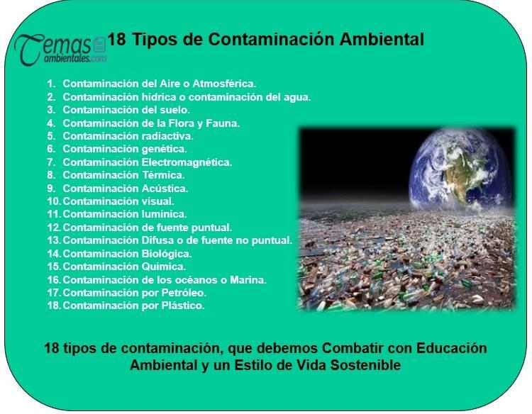 Cuales son los principales tipos de Contaminacion Ambiental
