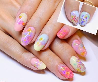 diseño de uñas con gatos y colores pastel
