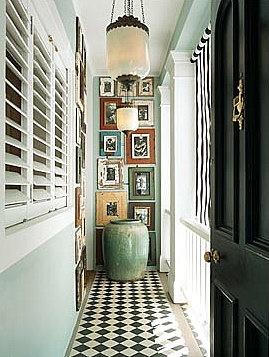 Black White Checkerboard Wood Floor Graphic Zig Zag