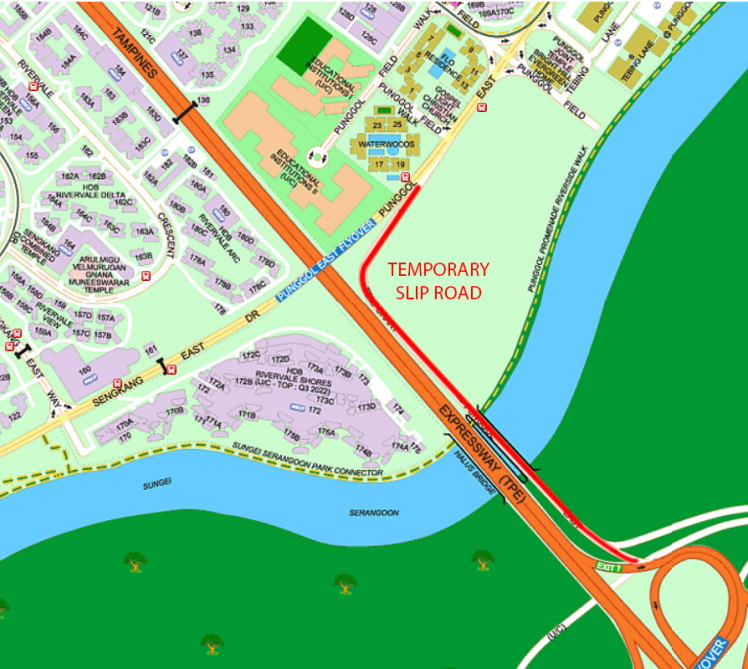 Temporary road linking Punggol East to KPE (ECP)