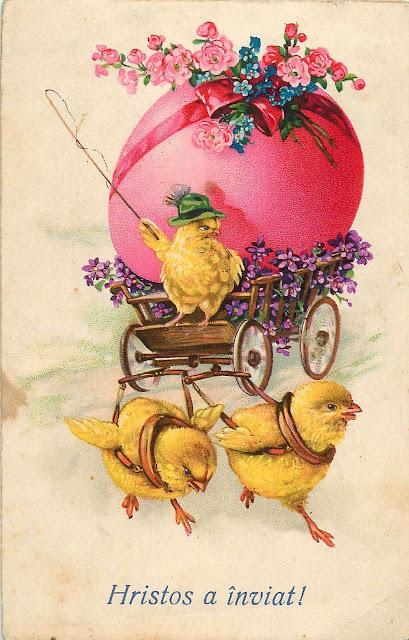 felicitare Paste vintage Romania Christos a inviat caruta cu flori si puisori
