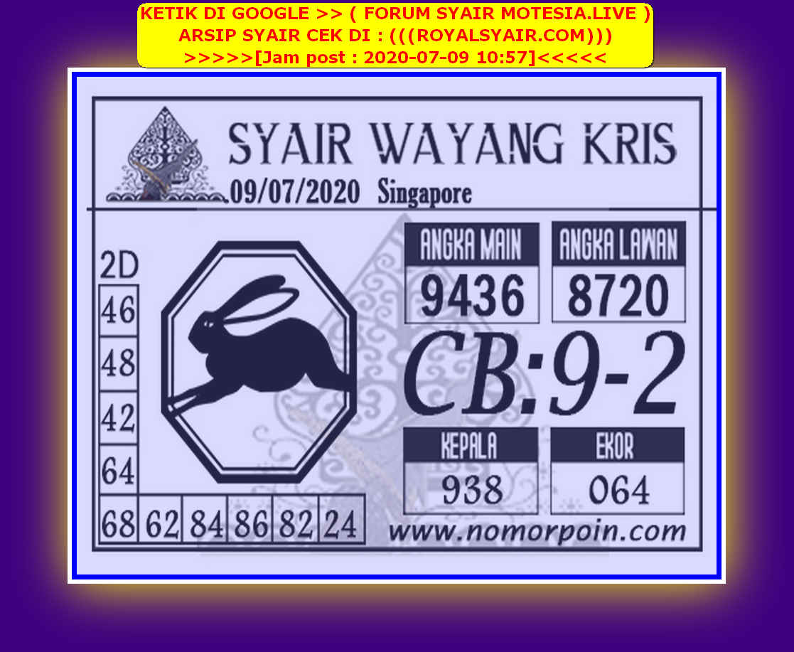Kode syair Singapore Kamis 9 Juli 2020 89