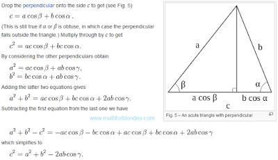 The proof using trigonometry. The proof law of cosines. Mathematics For Blondes.