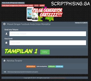Tampilan 1 Demo Script Phising fb Tampilan Pulsa Gratis