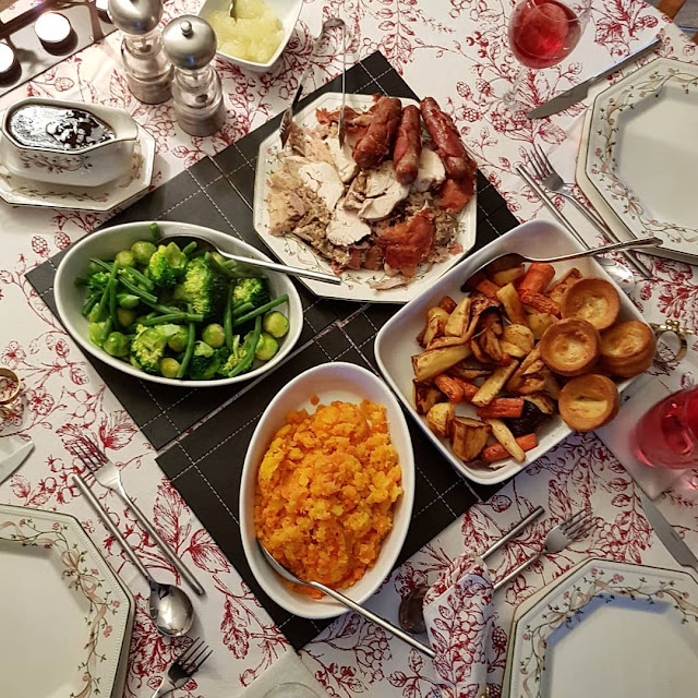 christmas dinner flatlay