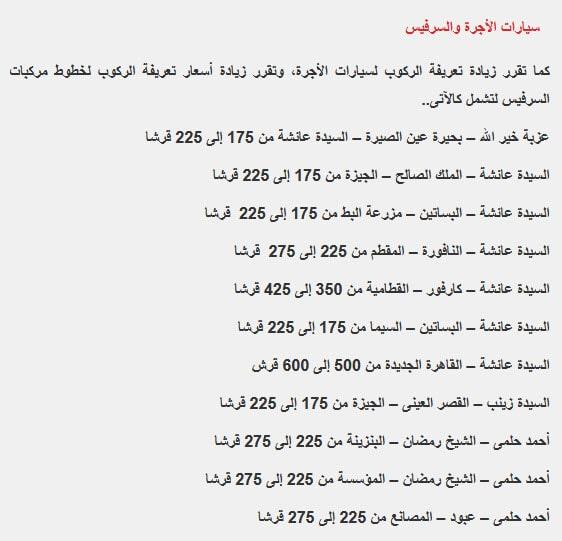 اسعار المواصلات الجديدة فى جميع محافظات جمهورية مصر العربية بعد غلاء اسعار البنزين والبترول . تعريفة الركوب الجديدة.