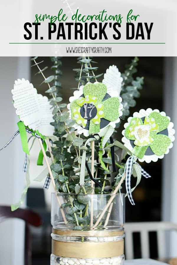 shamrock sticks,eucalyptus, st patricks day centerpiece