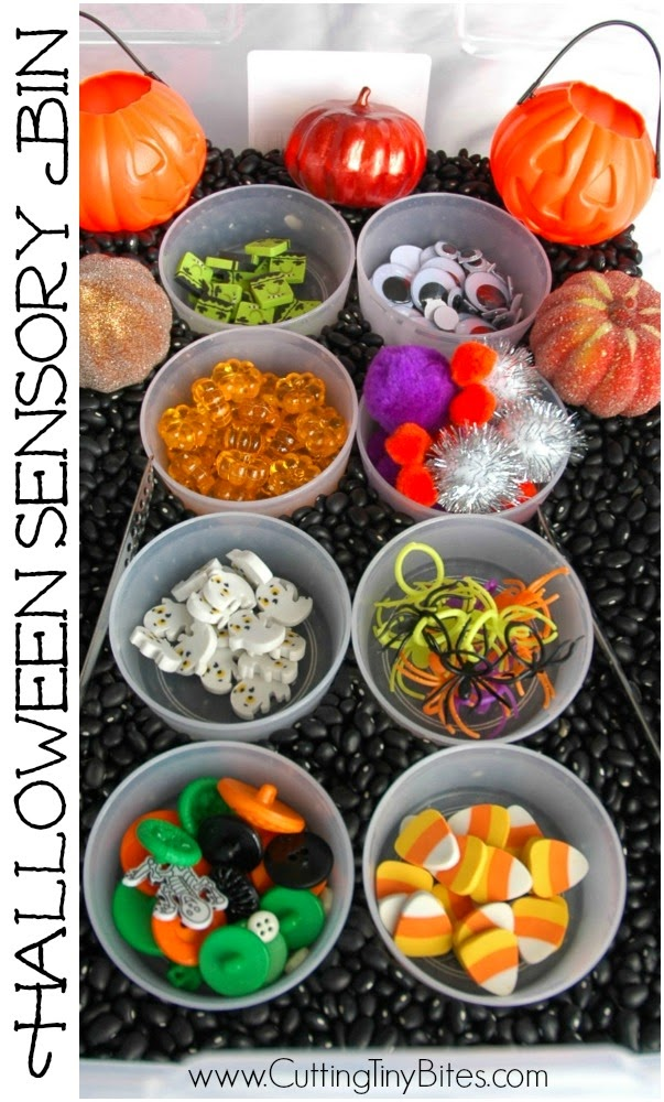 Halloween Sensory Bin with black bean base and fun, colorful additions. Spooky fun for toddlers, preschoolers, or older children!