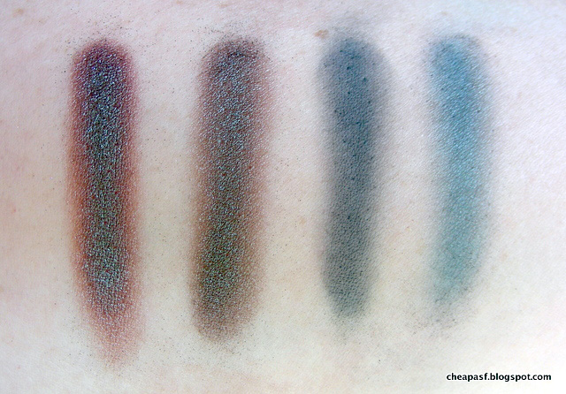 Swatches in indirect light: Wet N Wild Comfort Zone duochrome, Wet N Wild Plaid to the Bone duochrome, Makeup Geek Time Travel and Wet N Wild Plaid to the Bone.